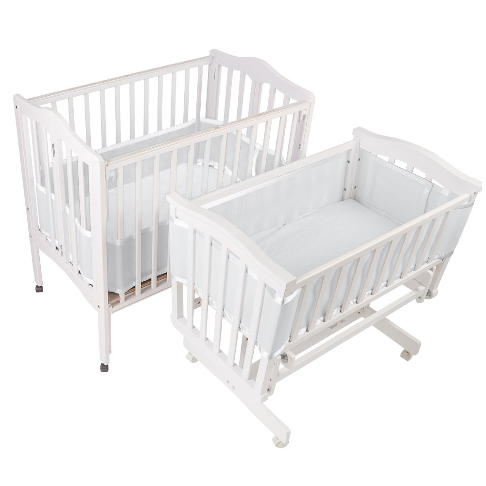BreathableBaby | Mesh Crib Liner | Portable & Mini Cribs | Made of Lightweight, Breathe-Through Polyester Mesh | Keeps Baby's Limbs Safely Inside the Crib Without Restricted Airflow | White