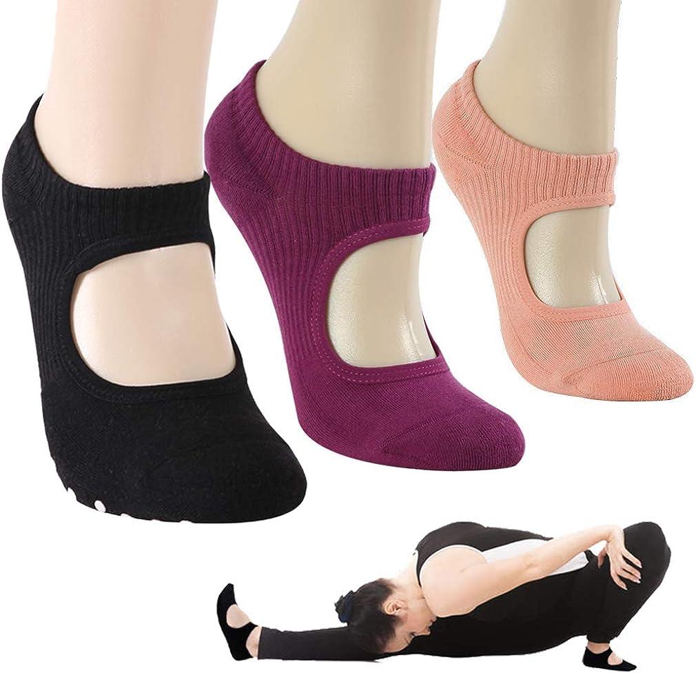 Yoga Socks Gmall Womens Yoga Ballet Pilates Barre Dance Non Slip Skid Grip Pilates Cotton Low Cut Socks