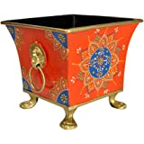 Lalhaveli Hand Painted Metal Containers Garden Pots and Planters (6.5 x 6.5 x 6 inch)
