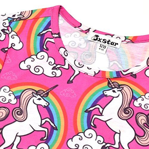 Little Girls Pajamas Set Summer Unicorn Sleepwear Cotton American Teen Flower by Jxstar (Image #2)