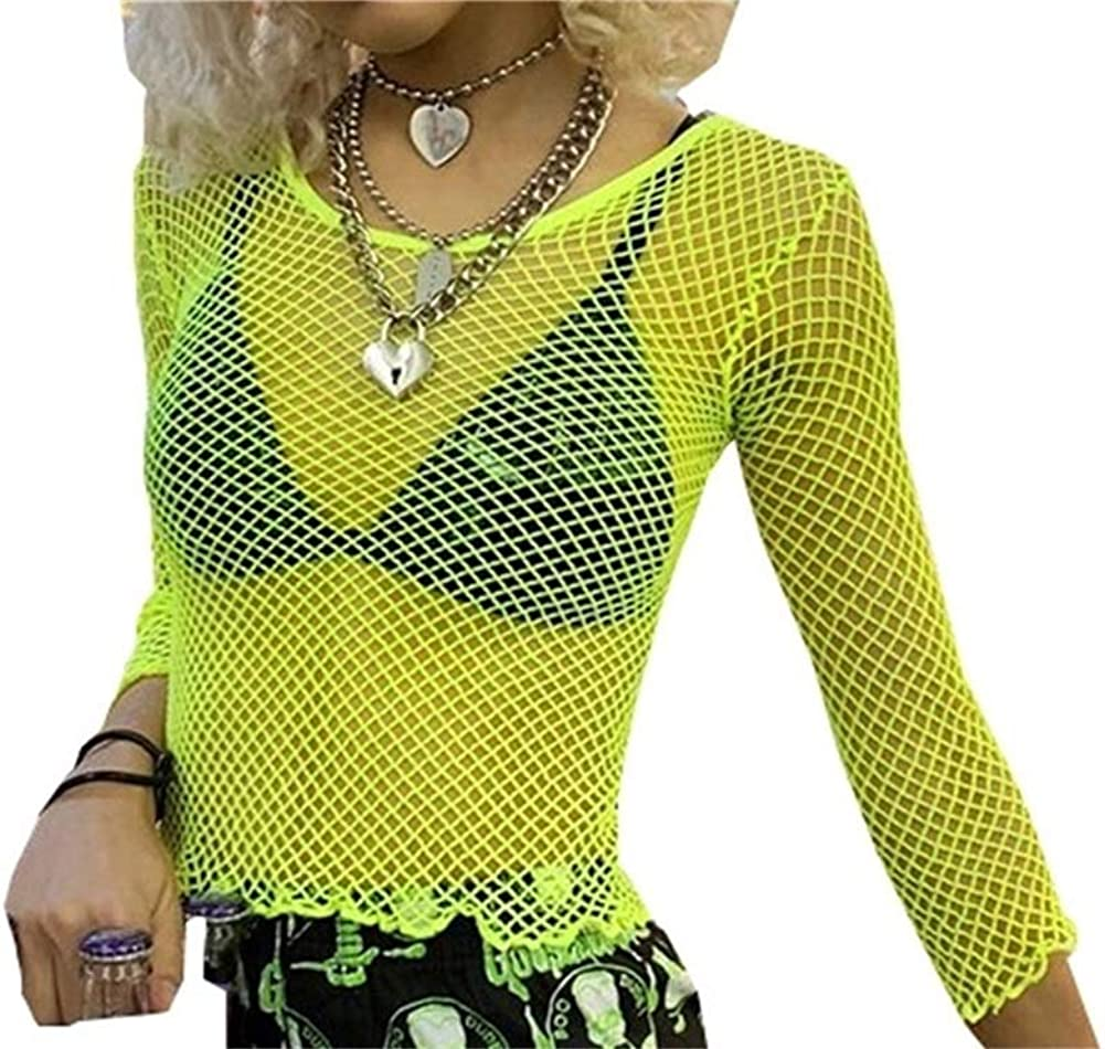 80s Tops, Shirts, T-shirts, Blouse Smile Fish Women Casual Sexy 80s Costumes Fishnet Neon Crop Tops T-Shirt $14.99 AT vintagedancer.com