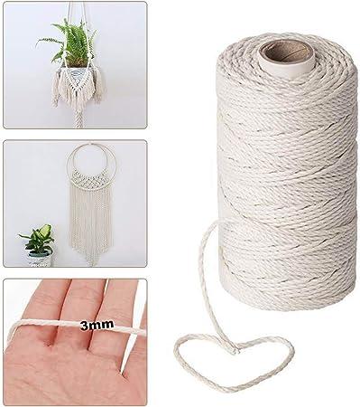 Cuerda de macramé de 200 m x 3 mm, cuerda de algodón natural, cuerda de macramé trenzada orgánica para colgar plantas, manualidades, tejer: Amazon.es: Hogar
