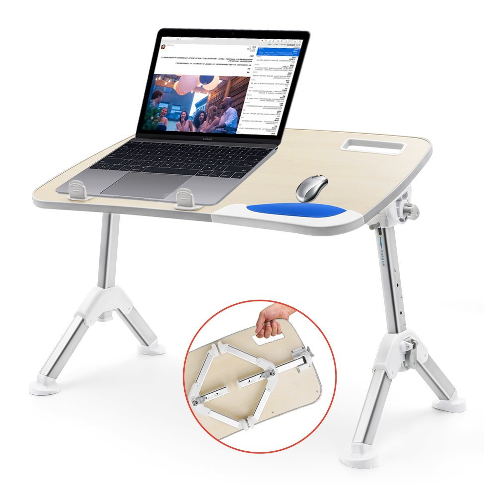 Laptop Table for Bed, AQQEF Laptop Desk for Bed with Foldable Legs Apply in Office as Computer Riser Stand or Outdoor Camping