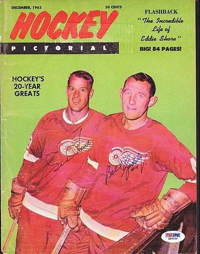 Gordie Howe & Bill Gadsby Signed Hockey Magazine Cover - ...