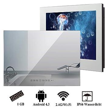 Wasserdichter Badezimmer Fernseher Von Soulaca 32 Zoll Mit Stylischer Spiegel Front Kompatibel Mit Online Tv Amazon Fire Mit Wi Fi Hdmi