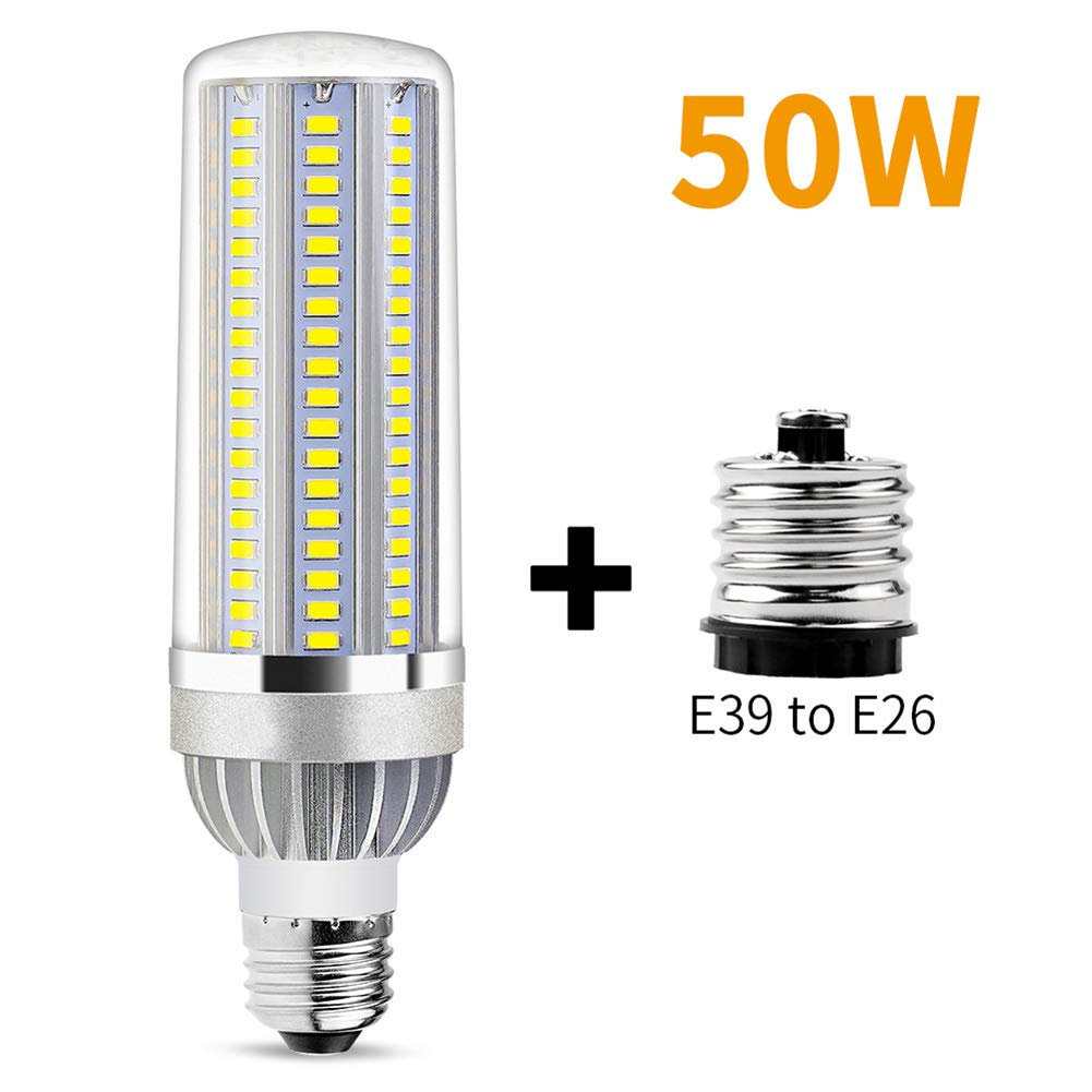XLQF E26 LED Corn Bulb 50W LED Lamp 5500 Lm Bulb E26 E39 Base Adapter, Big Power for Outdoor Square Playground Warehouse Lighting,Warmwhite by XLQF
