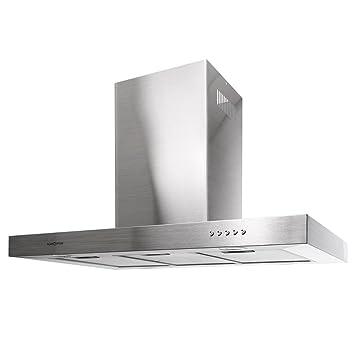 Klarstein 90BS2 Cappa a isola aspirante da cucina in acciaio ...