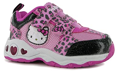 a6b2ab9a6 Image Unavailable. Image not available for. Colour: Infants Girls Printed Light  Up Trainers Velcro Shoes (C6 (23), Hello Kitty
