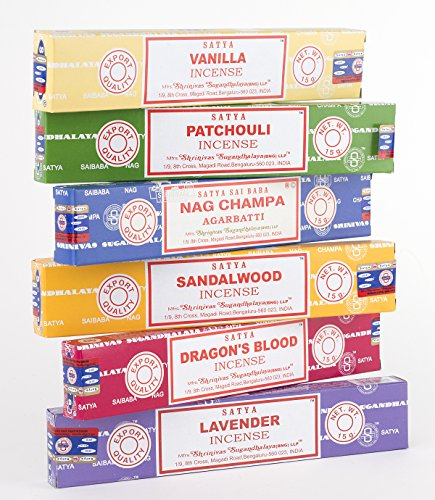 Nag Champa 6 Piece Variety Pack-Nag Champ, Vanilla, Patchouli, Sandalwood, Dragon's Blood, and Lavender