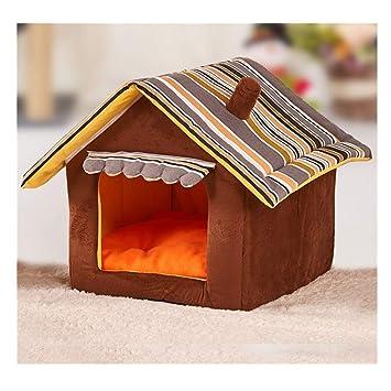 BulzEU 2 en 1 Interior Caliente Felpa Mascota casa y sofá imitación Madera Mascota Nido caseta