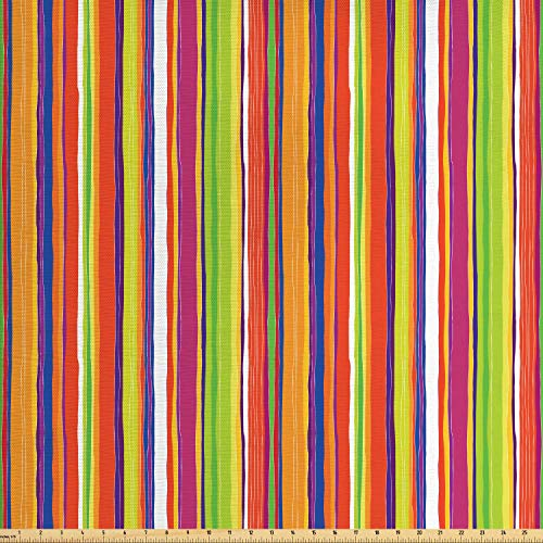 - Ambesonne Stripes Fabric by The Yard, Hand Drawn Barcode Style Lines Rainbow Colored Abstract Geometric Illustration, Decorative Fabric for Upholstery and Home Accents, 1 Yard, Multicolor