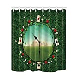 NYMB Green Lover Poker in the Flower on Clocks to See the City Shower Curtain, Mildew Resistant Waterproof Polyester Fabric Bathroom Decorations, Bath Curtains Hooks Included, 69X70 inches (Multi24)