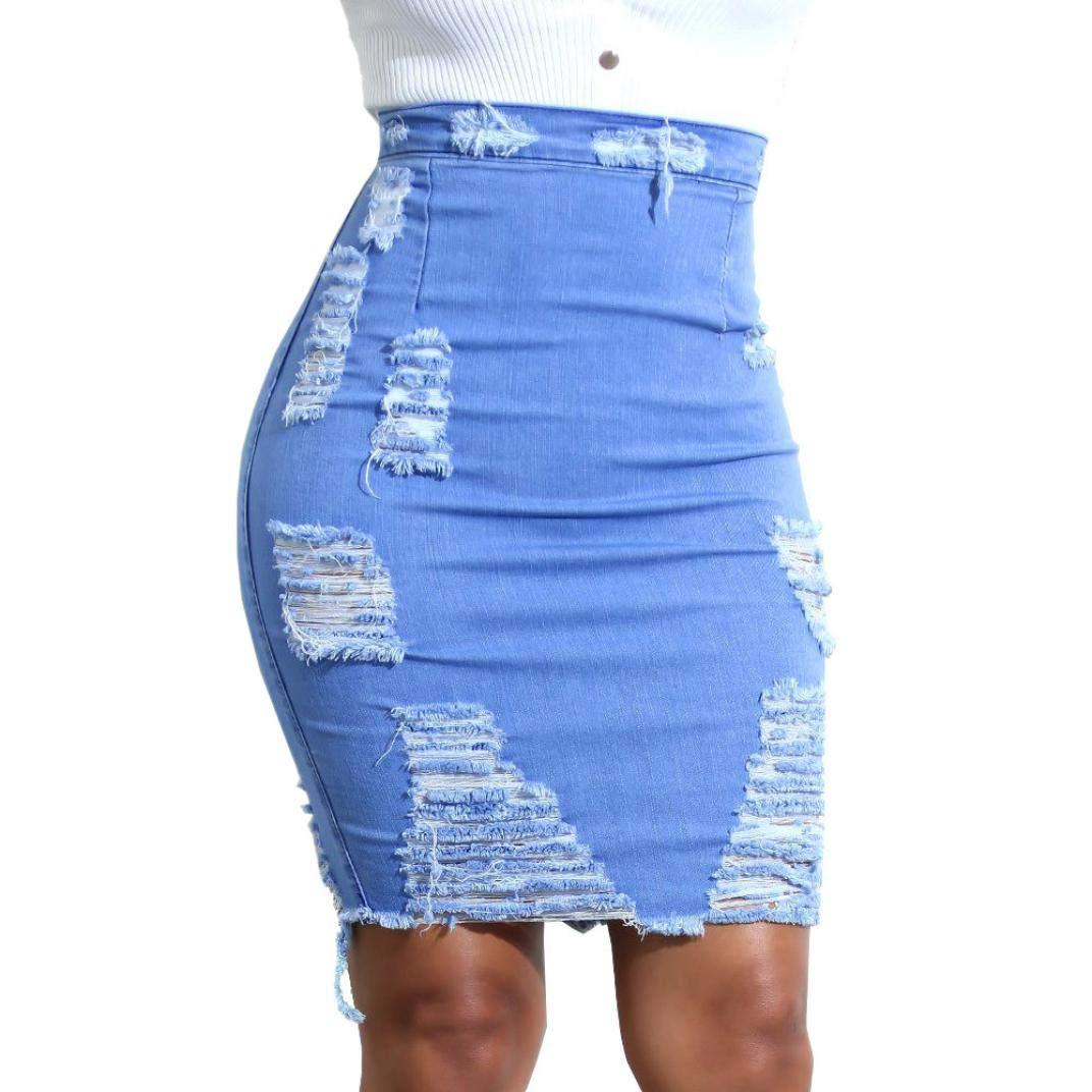 Denim Destroyed Hole Mini Skirt,Connia Casual High Waist Bodycon Jean Hip Skirt for Women (XL, Blue)