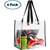 "2-Pack Stadium Approved Clear Tote Bag, Stadium Security Travel & Gym Clear Bag, Perfect for Work, School, Sports Games and Concerts,12""X 12""X 6"""
