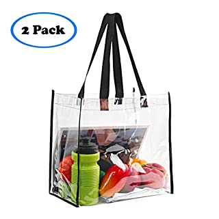"""2-Pack Stadium Approved Clear Tote Bag, Stadium Security Travel & Gym Clear Bag, Perfect for Work, School, Sports Games and Concerts,12""""X 12""""X 6"""""""