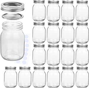 KAMOTA Mason Jars 16OZ With Regular Lids and Bands, Ideal for Jam, Honey, Wedding Favors, Shower Favors, Baby Foods, DIY Magnetic Spice Jars, 18 PACK, 20 Whiteboard Labels Included