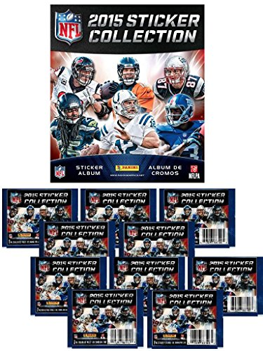 COMBO DEAL - 2015 NFL Stickers - Official NFL Sticker Collection - Collector's Album + 20 NFL Sticker Packets (150 Football Card Stickers) by Panini
