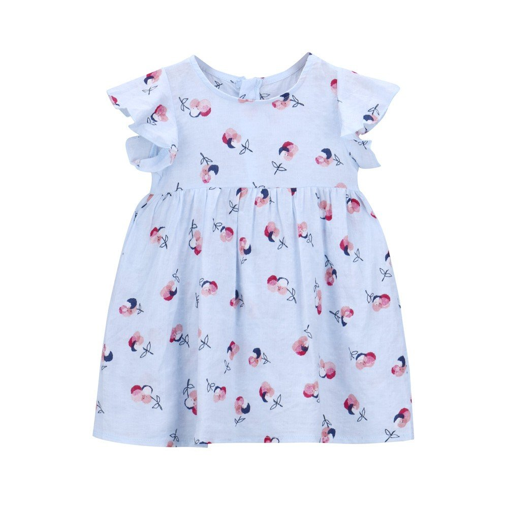 Little Girls Toddle Clothes Ruffle Sleeveless Casual Floral Print Summer Dresses (Size:12M, Blue)