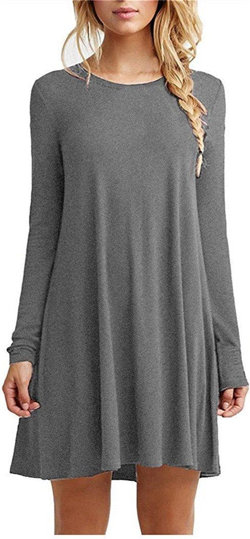 Tinyhi Women's Casual Plain Long Sleeve Loose Swing Cotton Dress, Darkgrey, Small