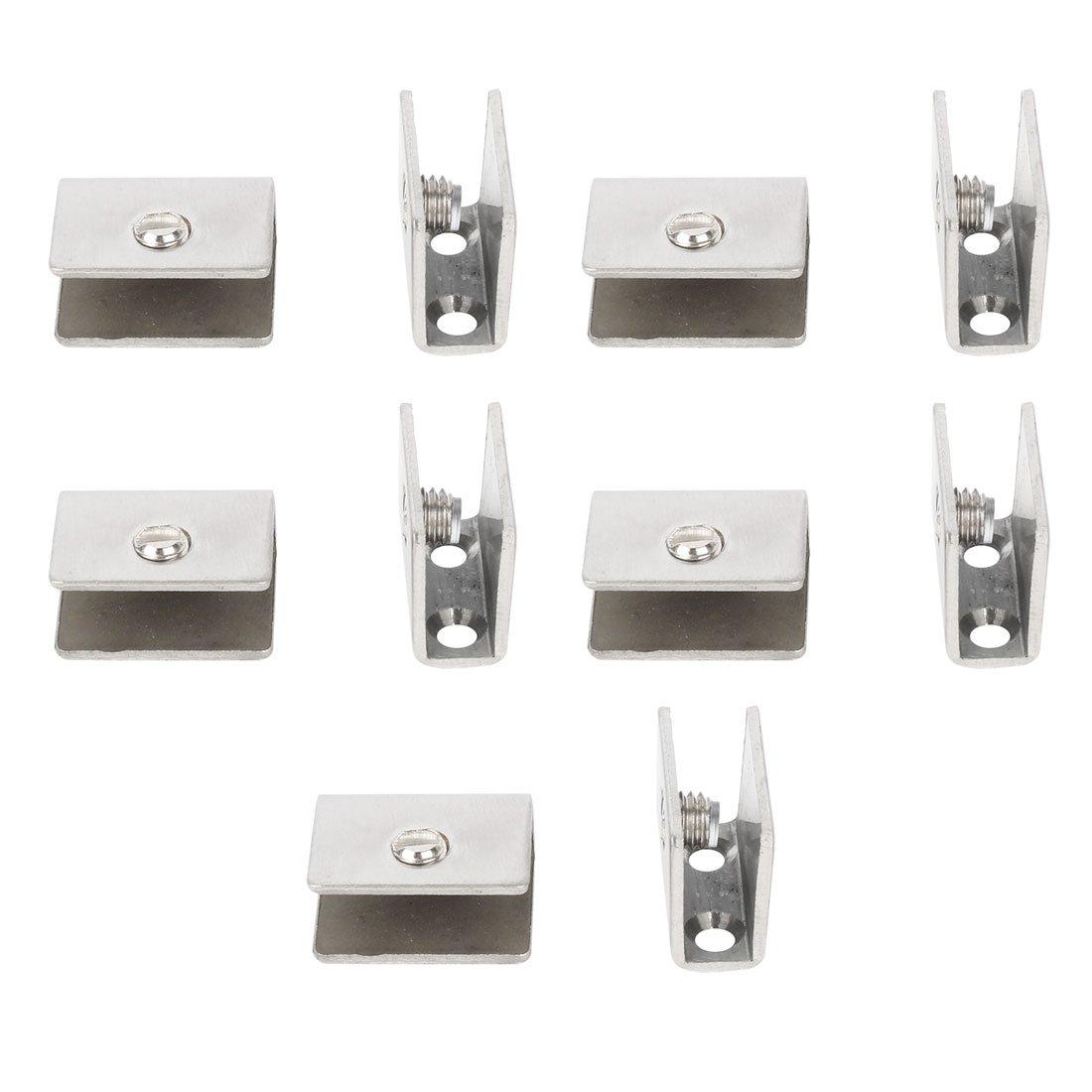 uxcell 10pcs Adjustable Brushed Stainless Steel Door Glass Shelf Clamp Brackets Holder