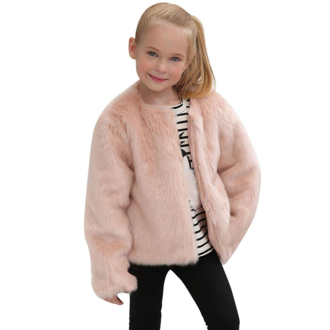 Remiel Store Kids Baby Girls Autumn Winter Solid Faux Fur Thick Warm Outwear Coat Jacket (5T)