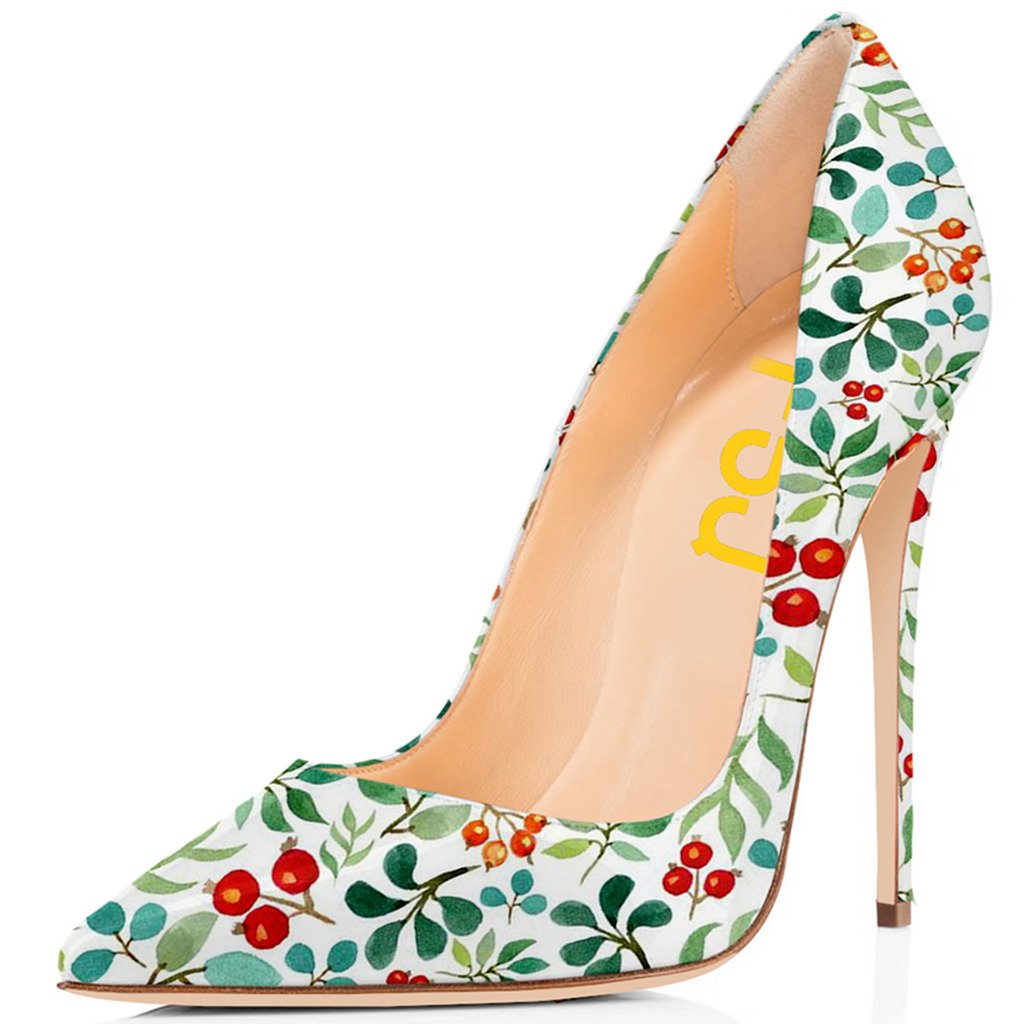 FSJ Women Fashion High Heel Stilettos Pointed Toe Pumps Evening Dress Printed Shoes Size 4-15 US B07233QJTF 9.5 B(M) US|Cherries