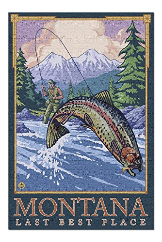 (Montana, Last Best Place - Angler Fly Fishing Scene (Leaping Trout) (20x30 Premium 1000 Piece Jigsaw Puzzle, Made in USA!))