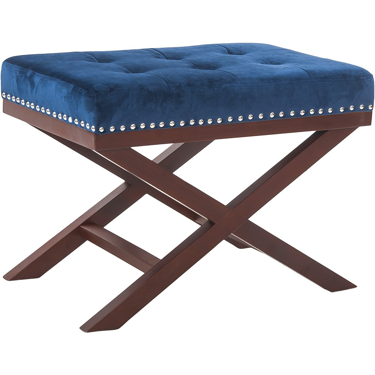 Harper&Bright Designs Upholstered Tufted X Bench Ottoman with Nailhead Detail and Solid Wood Legs (Indigo)