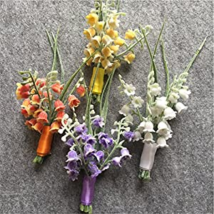 WeddingBobDIY Artificial Lily of The Valley Flower Groom Boutonniere Buttonholes Groomsman Wedding Flowers Accessories Man Party Suit Decoration 95