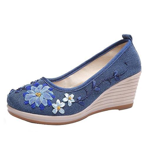 OHQ Sandalias Romanas De Playa Mujer Sandalias Zapatillas Verano Moda Chanclas Zapatos Individuales Bordado Zapatos Pendiente