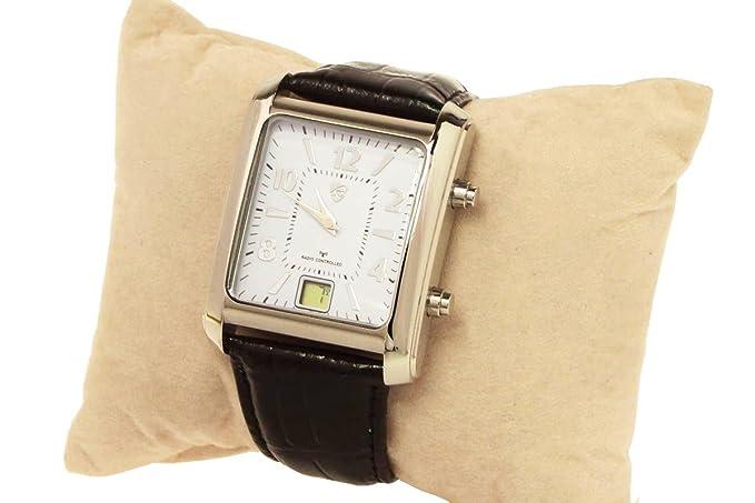Radio reloj de pulsera para hombre auriol - Diseño Elegante - correa de piel negra: Amazon.es: Relojes