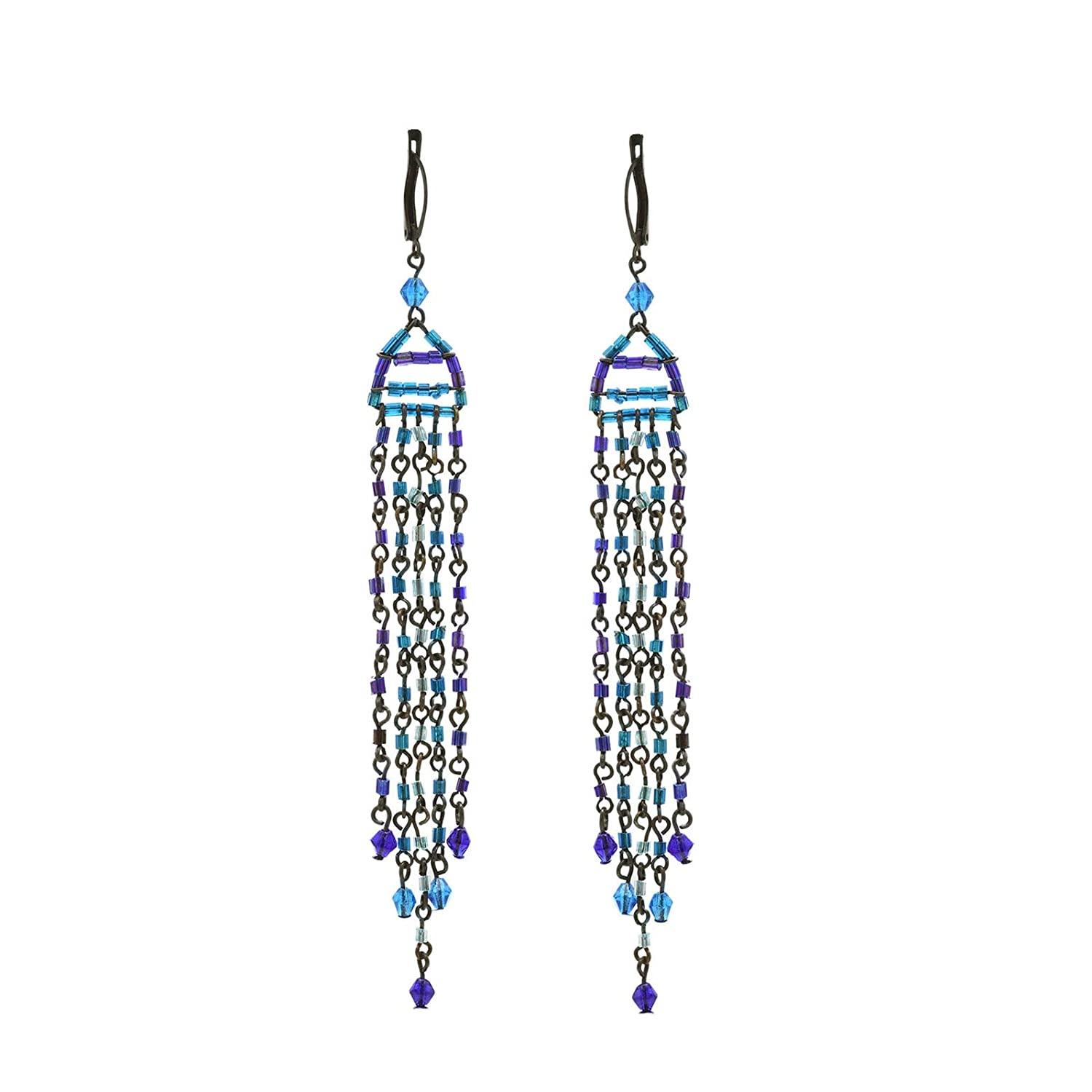 Zephyrr Tibetan Drop Earrings Silver Tone Casual Daily Wear Statement Jewelry For Women JAE-3350 Blue