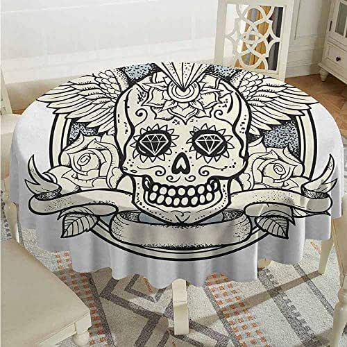 XXANS Washable Round Tablecloth,Sugar Skull,Illustration of Calavera Diamond Figure and Roses Vintage Revival Design,for Events Party Restaurant Dining Table Cover,70 INCH,Cream Grey Black
