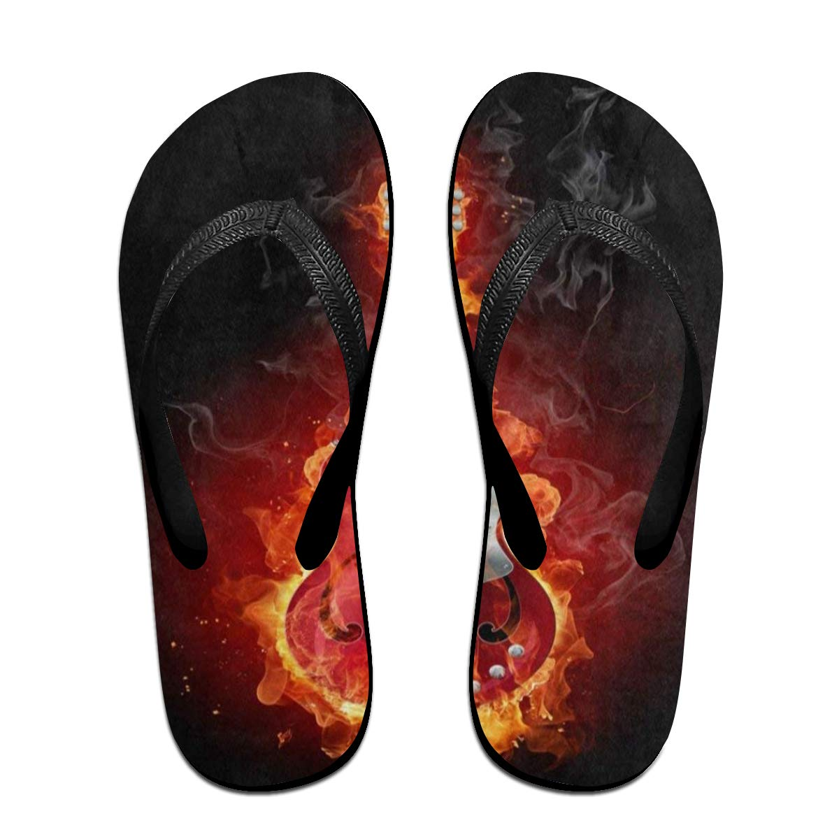Ladninag Flip Flops Fire Electronic Guitar Womens Indoor Slippers Thong Sandals for Unisex