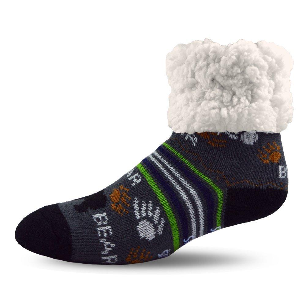 Pudus Bear Grey Adult Regular Cozy Winter Classic Slipper Socks With