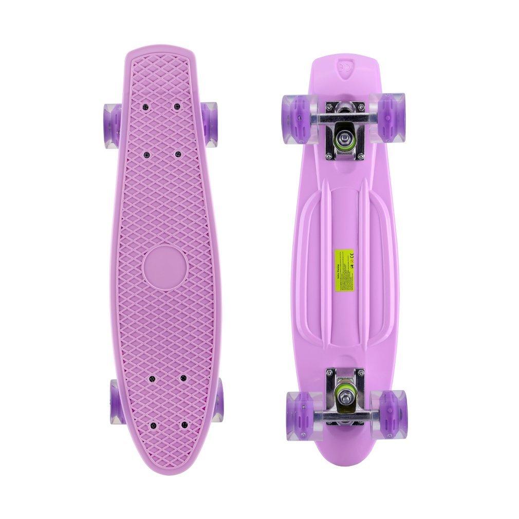 Homgrace 22 Skateboard Complete Classic Retro Luminous Cruiser Plastic Skate Board with LED Light Up Wheels