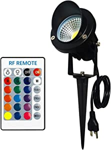 TOVEENEN Color Changing LED Landscape Lights with RF Remote 10W RGB Waterproof Outdoor Tree Garden Holiday Lighting with US Plug