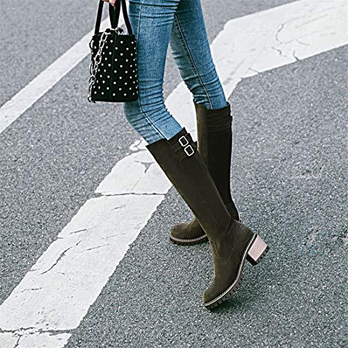 Alto en Botas Mujer e Sandalette otoño ArmyGreen Comodo Invierno DEDE de de tacón y xwUnqFXCZB
