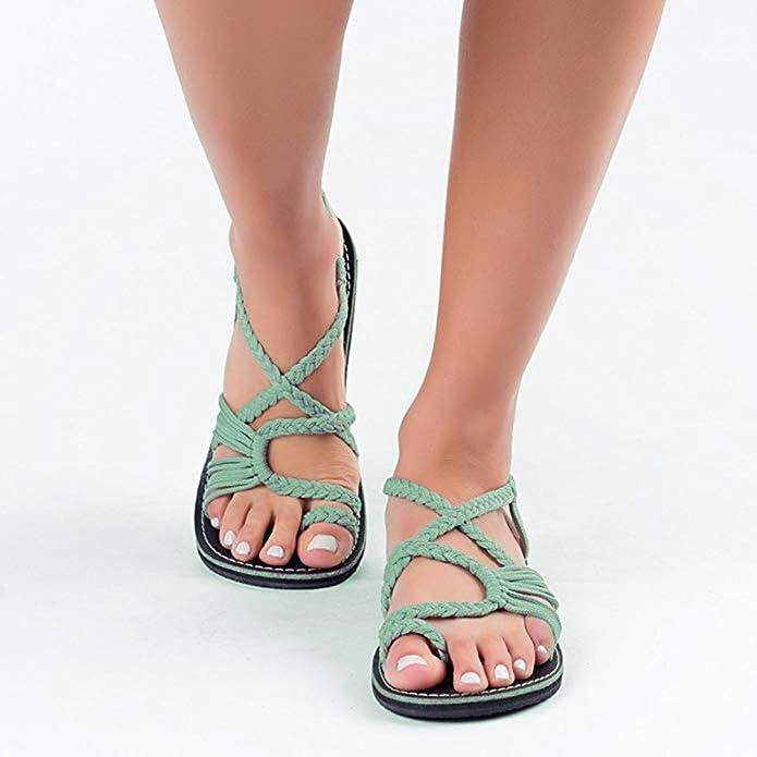 9b78b07901e0 ❤ Familizo 2018 New Women s Flat Sandals Summer Clip Toe Flip Flops Thongs  Bohemian Style Beach Shoes Wedge Heels Open Toe Braided Casual Shoes  Walking ...