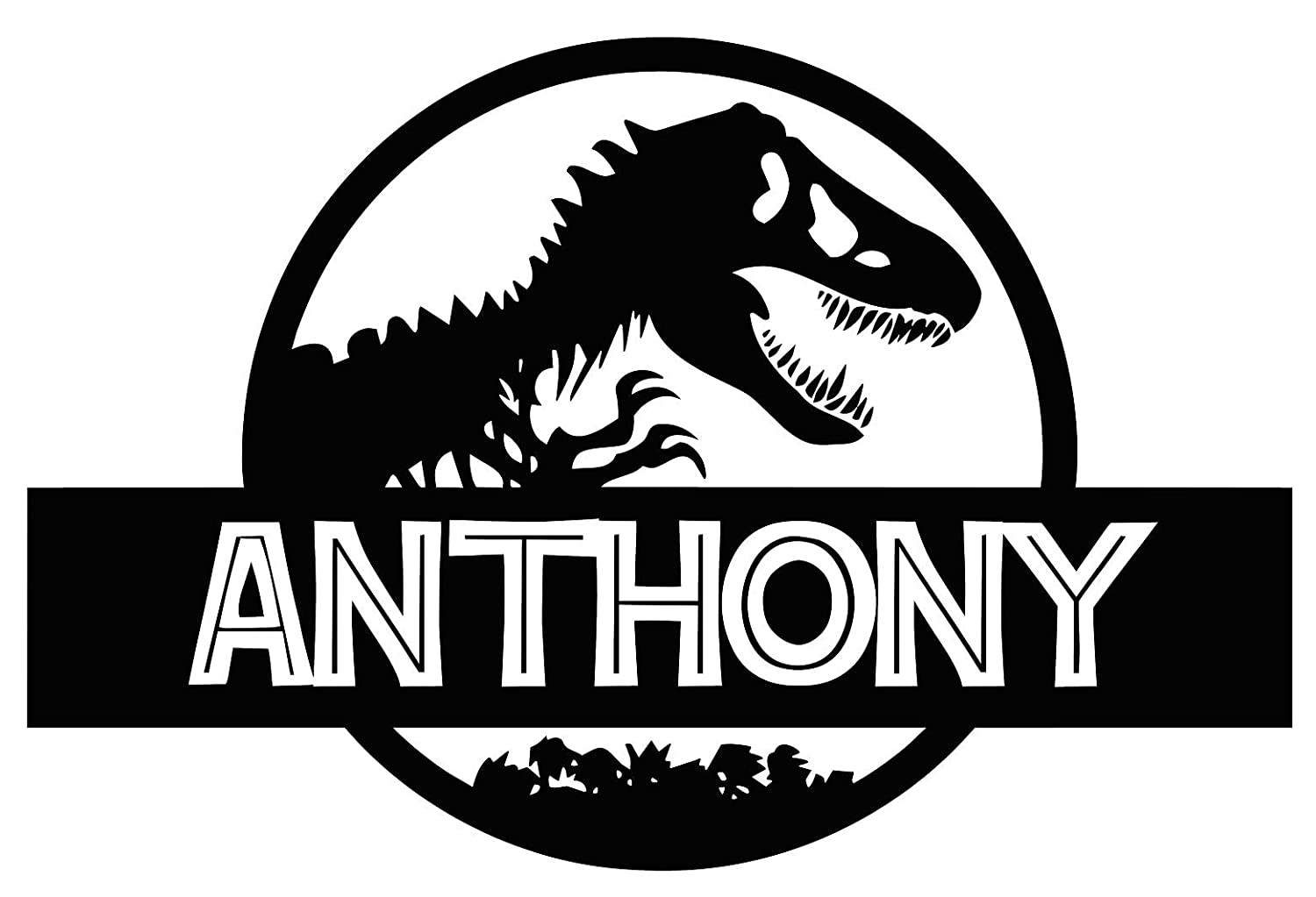 Custom name jurassic era logo wall decal personalized decal tyrannosaur vinyl sticker dinosaur t rex wall art design housewares kids room bedroom decor
