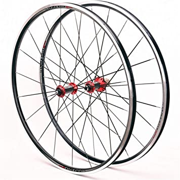 MZPWJD Juego Ruedas Bicicleta Carretera 700C Cubo Fibra Carbono Llanta Doble Capa V Freno QR 9mm 8/9/10/11 Velocidad Volante Cassette 24 Hoyos (Color : Red): Amazon.es: Deportes y aire libre