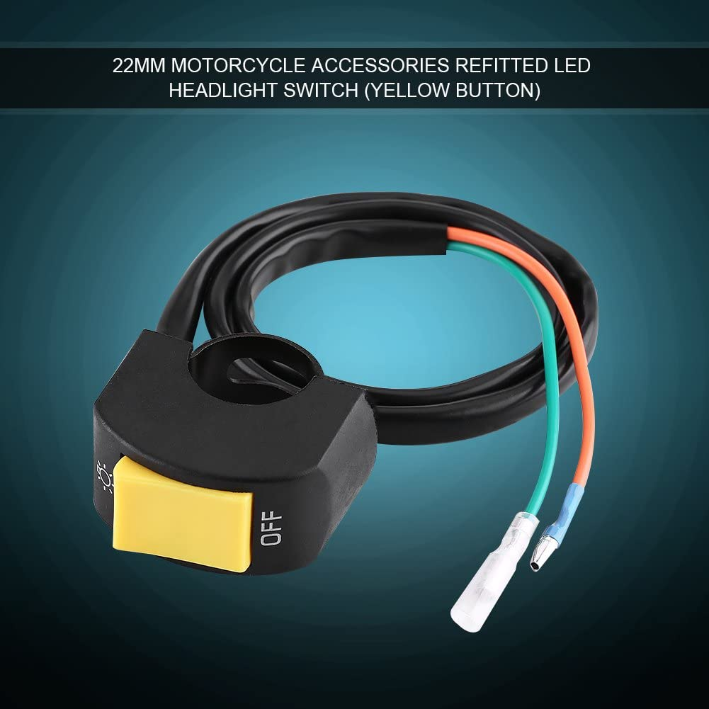 Yellow Keenso LED Headlight On//Off Switch with Button Universal 7//8inch Motorcycle Handlebar Switch