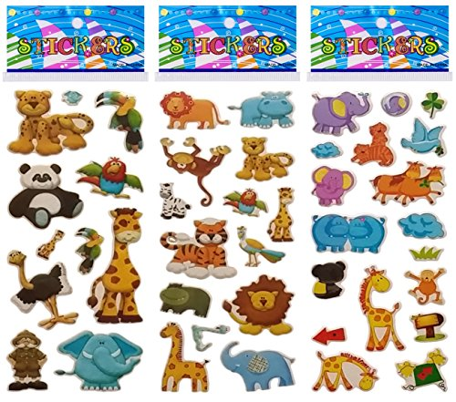6 Sheets Puffy Dimensional Scrapbooking Party Favor Stickers + 18 FREE Scratch and Sniff Stickers - JUNGLE, SAFARI