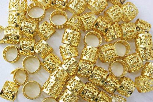 48PC Dreadlocks Beads Aluminum Cuffs Hair Decoration Filigree Tube (Gold) ()