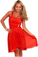Women's Formal Cocktail Chiffon Ruched Sleeveless Mini Empire Waist Dress