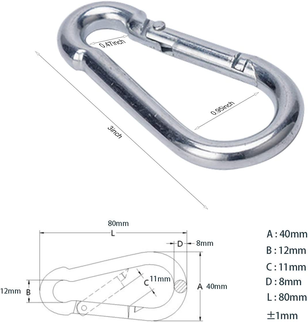 OWAYOTO Carabiner 3 Inch Spring Snap Hook Steel Clip Link Buckle Heavy Duty 12pcs 8x80mm for Outdoor Camping Hiking Hammock Swing