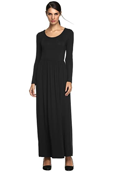 Womens Long Sleeve Dress Waist Pleated Party Causual Fashional Figure Flattering Maxi Dress (XXL,