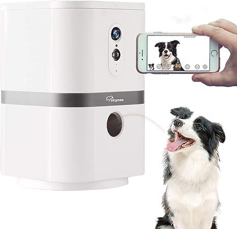 SKYMEE Petalk AI C/ámara para Perros,Lanzamiento de golosinas C/ámara remota para Mascotas WiFi con audio bidireccional y visi/ón nocturna
