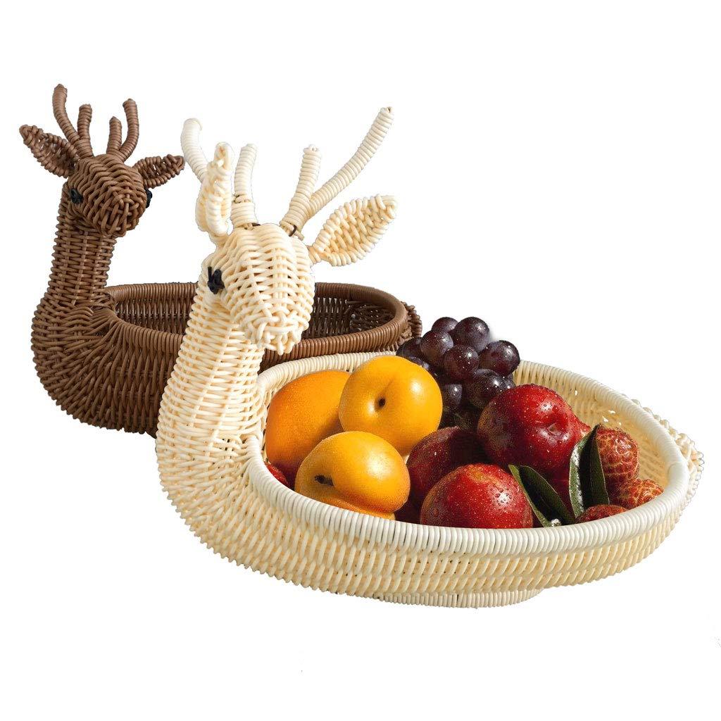 人格クリエイティブ織りフルーツトレイフルーツバスケットプレートフルーツディッシュフルーツラックキッチンリビングルームの装飾   B07NQ2VQ5F