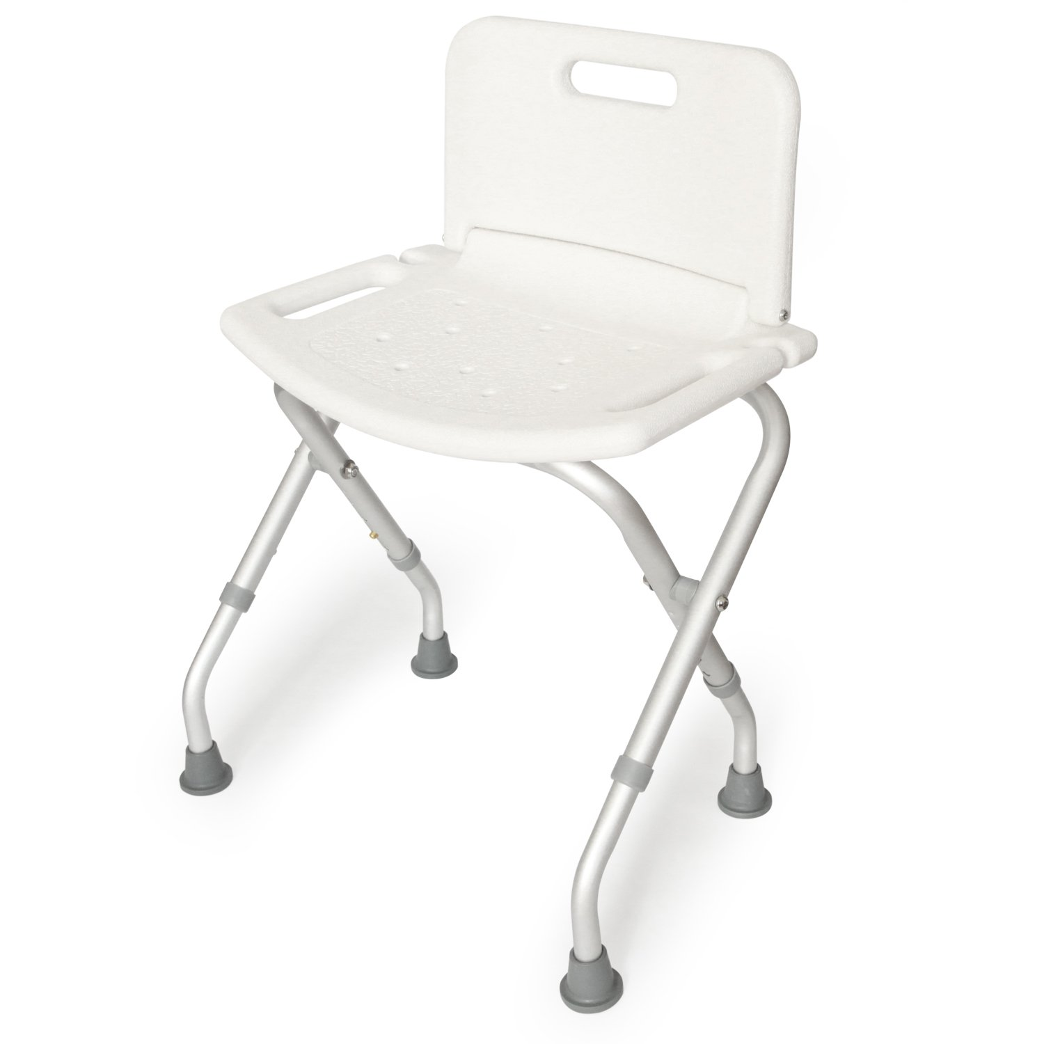 ToiletTree Products Deluxe Folding Shower Seat with Back, Adjustable Legs, and Anti-Slip Rubber Feet, 300lb Capacity